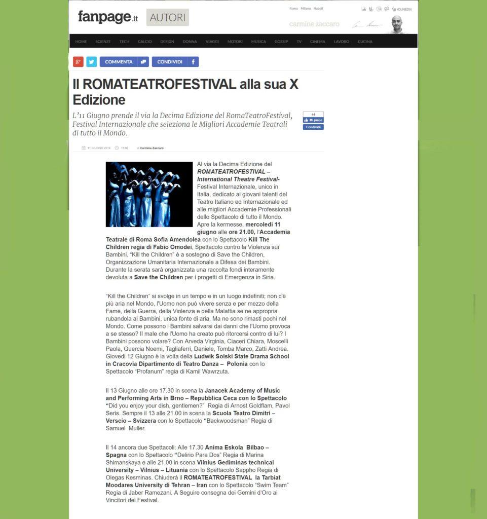 Kill The Children - Accademia Sofia Amendolea - Rassegna Stampa - autori.fanpage
